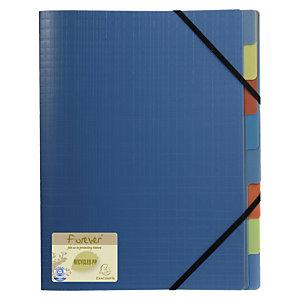 Exacompta Forever® Clasificador con compartimentos 250 hojas tamaño A4 8 compartimentos 3 solapas separadores multicolor polipropileno reciclado azul