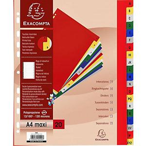 Exacompta Intercalaires alphabétiques maxi A4+ en polypropylène, 20 divisions - Assortis