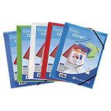 Exacompta Kreacover® Carpeta con cierre elástico y 3 solapas, A4, 200 hojas, portada personalizable, polipropileno, colores variados