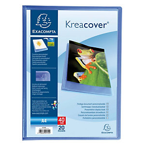 Exacompta Kreacover® Carpeta de fundas A4, 20 fundas, portada personalizable, azul