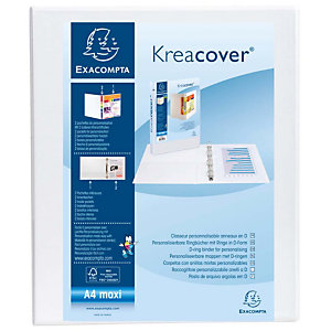 Exacompta Kreacover® Carpeta personalizable canguro de 4 anillas de 30 mm A4 lomo 44 mm de PVC blanco