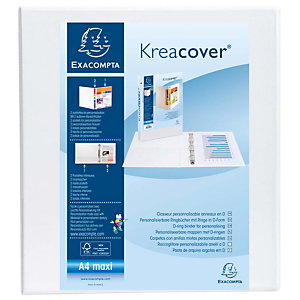 Exacompta Kreacover® Carpeta personalizable canguro de 4 anillas de 50 mm A4 lomo 70 mm de PVC blanco