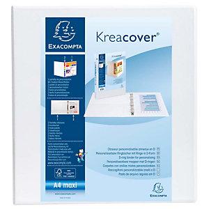Exacompta Kreacover® Carpeta personalizable canguro de 4 anillas de 60 mm A4 lomo 80 mm de PVC blanco