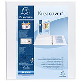 Exacompta Kreacover® Carpeta personalizable canguro de 4 anillas de tipo D 50 mm gran tamaño 460 hojas A4 lomo 65 mm de cartón plastificado blanco