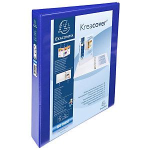 Exacompta Kreacover® Raccoglitore ad anelli, A4 Maxi, 4 anelli a D da 30 mm, 275 fogli, Copertine e dorso personalizzabili, Cartoncino con polipropilene, Blu
