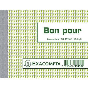 EXACOMPTA Manifold Bon pour 10,5x13,5cm 50 feuillets dupli autocopiants