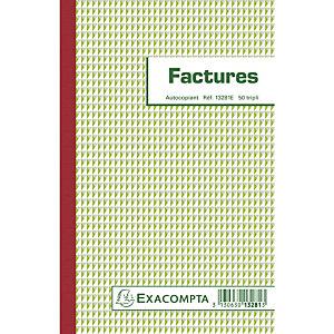 EXACOMPTA Manifold Factures 21x13,5cm 50 feuillets tripli autocopiants