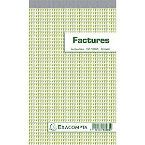 Exacompta Manifold Factures 22x13,5cm collé en tête 50 feuillets dupli autocopiants