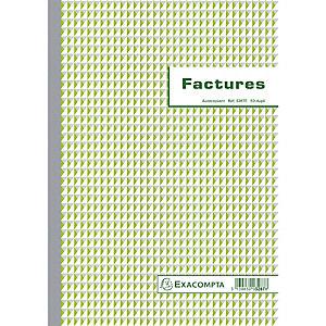 Exacompta Manifold Factures avec mention TVA 29,7x21cm 50 feuillets dupli autocopiants