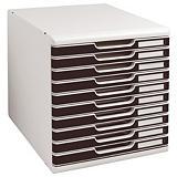 Exacompta Module A4 Modulo Classic, 10 tiroirs pour dossiers A3 et A4, 350x 288 x 320 mm, noir et gris clair