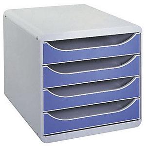 Exacompta Module de classement Big Box 4 tiroirs - corps gris - tiroirs bleu