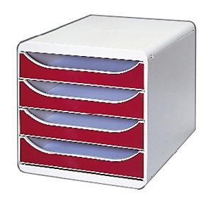 Exacompta Module de classement Big Box 4 tiroirs - corps gris - tiroirs framboise