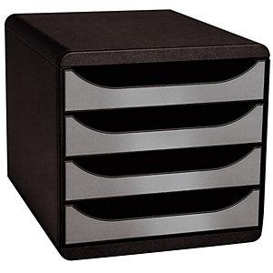 Exacompta Module de classement Big Box 4 tiroirs - corps noir - tiroirs argent