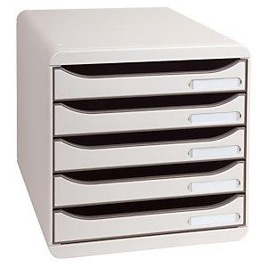 Exacompta Module de classement Big Box 5 tiroirs - corps et tiroirs gris
