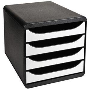 Exacompta Module de classement Big Box glossy 4 tiroirs, A4+ - Noir, façades blanches