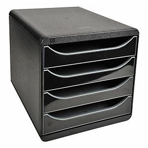 Exacompta Module de classement Big Box glossy 4 tiroirs, A4+ - Noir, façades noires