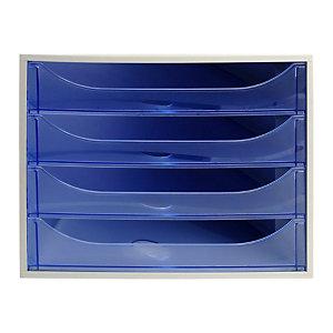 Exacompta Module de classement ECOBOX 4 tiroirs - Gris et Bleu translucide