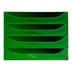 EXACOMPTA Module de classement ECOBOX 4 tiroirs gris vert translucide - Dim. : L28,4 x H23,4 x P34,8 cm