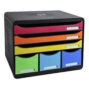 Exacompta module de classement à tiroirs Store-Box, 6 tiroirs format à l'talienne A4+ - Noir/Arlequin
