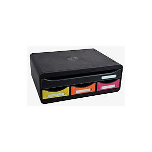 Exacompta module de classement à tiroirs Toolbox, 4 tiroirs format à l'talienne A4+ - Noir/Arlequin