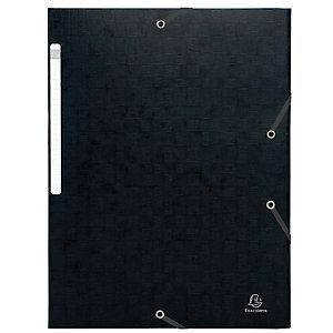 Exacompta Nature Future® Carpeta de gomas, A4, 3 solapas, lomo 35 mm, cartón prensado, negro