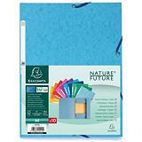 Exacompta Nature Future Carpeta de gomas, Folio, 3 solapas, lomo 15 mm, cartulina lustrada, colores vivos surtidos