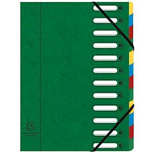 Exacompta Nature Future® Harmonika® Clasificador con compartimentos con lomo expansible y ventanas troqueladas en cartón prensado tamaño A4 de 600 hojas 12 compartimentos de 240 x 320 mm verde