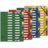 Exacompta Nature Future® Harmonika® Clasificador con compartimentos con lomo expansible y ventanas troqueladas tamaño A4 600 hojas 12 compartimentos de 240 x 320 mm en cartón prensado azul