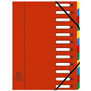 Exacompta Nature Future® Harmonika® Clasificador con compartimentos con lomo expansible y ventanas troqueladas tamaño A4 600 hojas 12 compartimentos de 240 x 320 mm en cartón prensado rojo