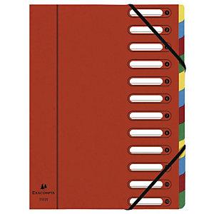 Exacompta Nature Future® Harmonika® Raccoglitore a scomparti con Dorso espandibile e Finestre incorporate Formato A4 Capacità 600 fogli 12 scomparti 240 x 320 mm Cartoncino Rosso