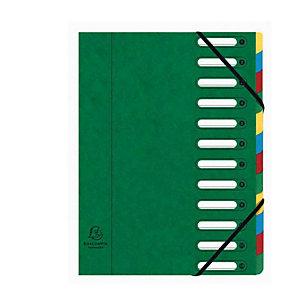 Exacompta Nature Future® Harmonika® Raccoglitore a scomparti con Dorso espandibile e Finestre incorporate Formato A4 Capacità 600 fogli 12 scomparti 240 x 320 mm Cartoncino Verde