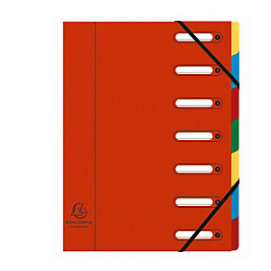 Exacompta Nature Future® Harmonika® Raccoglitore a scomparti con Dorso espandibile e Finestrelle incorporate Formato A4 7 scomparti 240 x 320 mm Cartoncino Rosso