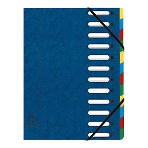 Exacompta Nature Future® Harmonika® Raccoglitore a scomparti con Dorso espandibile e Finestrelle incorporate Formato A4 Capacità 600 fogli 12 scomparti 240 x 320 mm Cartoncino Blu