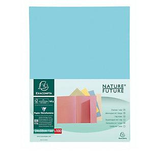 Exacompta Nature Future® Jura 160 Subcarpeta con 1 solapa en cartón prensado para 200 hojas tamaño A4 de 240 x 320 mm en azul claro