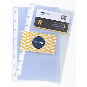 Exacompta Paquet de 10 recharges pochettes pour porte-cartes de visite à anneaux A5