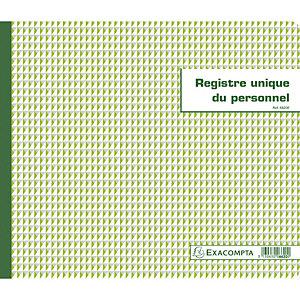 EXACOMPTA Piqûre 27x32cm - Registre unique du personnel (salariés et stagiaires) - 56 pages