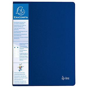 Exacompta Porte-vue Up-line A4 20pochettes transparentes porte-étiquettes 3faces couverture solide en polypropylène recyclé bleu