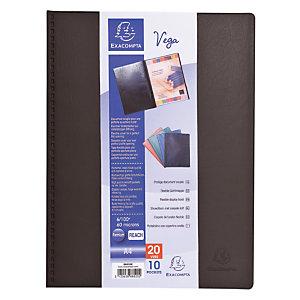 Exacompta Porte-vue Vega, formatA4, 20pochettes, PVC, noir