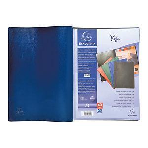 Exacompta Porte-vue Vega, formatA4, 40pochettes, PVC, bleu