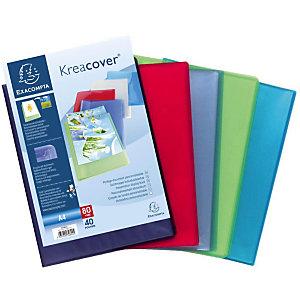 Exacompta Porte-vues Kreacover® A4, 40pochettes transparentes cristal, couverture personnalisable semi-rigide en polypropylène recyclé, couleurs assorties