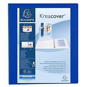 Exacompta Raccoglitore personalizzabile Kreacover, 4 anelli a D, A4 maxi, Dorso 4,7 cm, Polipropilene, Blu