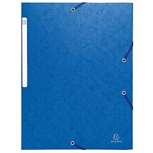 Exacompta Scotten Nature Future® Carpeta de gomas, A4, 3 solapas, lomo 35 mm, cartón prensado, azul