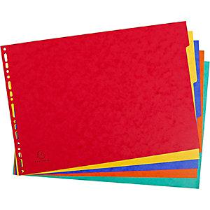 Exacompta Separador liso, A3, 5 piezas, cartón prensado moteado, colores variados