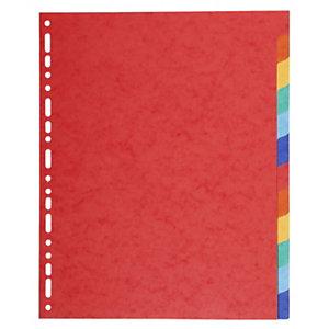 Exacompta Separadores, A4+, cartulina lustrada, 12 pestañas, colores surtidos