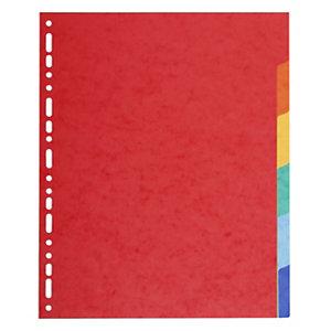 Exacompta Separadores, A4+, cartulina lustrada, 6 pestañas, colores surtidos