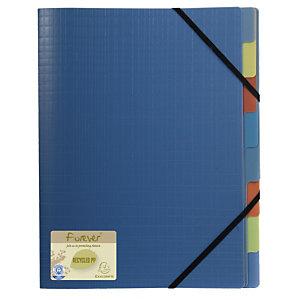Exacompta Trieur à élastiques Forever® 250feuillesA4 8divisions, 3rabats, intercalaires multicolores polypropylène recyclé bleu