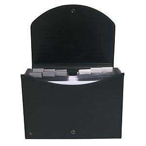 EXACOMPTA Trieur extensif Exacase Exactive® avec poignée ergonomique 400 feuilles A4 13 compartiments 33 x 26 cm Polypropylène Noir