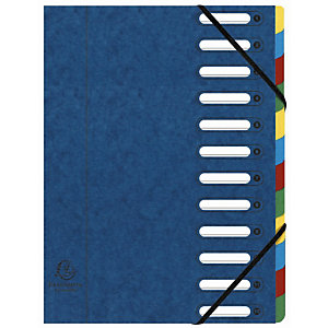 Exacompta Trieur Harmonika à fenêtres avec élastiques - véritable carte lustrée - 12 compartiments - bleu