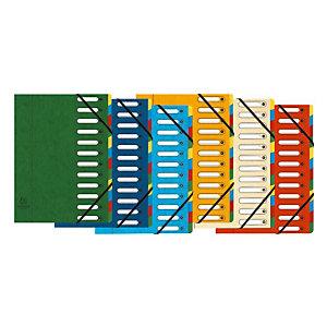 Exacompta Trieur Harmonika à fenêtres avec élastiques - véritable carte lustrée - 12 compartiments - couleurs assorties