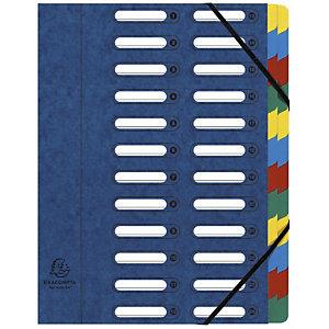Exacompta Trieur Harmonika à fenêtres avec élastiques - véritable carte lustrée - 24 compartiments - bleu